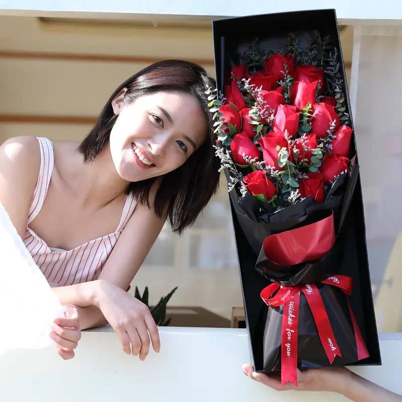 【同城专人送花】11枝❤️19枝❤️33枝玫瑰礼盒|女友闺蜜朋友父母生日礼物七夕情人节祝福礼品