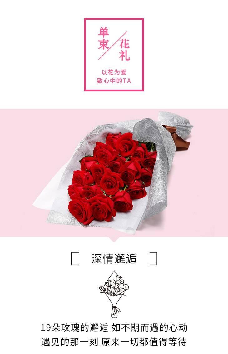 【同城专人送花上门】19枝红玫瑰香槟玫瑰粉玫瑰礼盒 全国同城配送